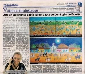Arte de Eliete Tordin a leva ao Domingão do Faustão